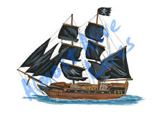 Pirate Ship Sticker Decal Home Office Dorm Wall Exclusive Art Tablet Cell CPU