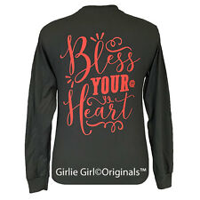 "Girlie Girl Originals ""Bless Your Heart"" Long Sleeve Charcoal Unisex Fit T-Shirt"