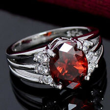 Women's Silver Plated Jewelry Red Cubic Zirconia Exquisite Finger Ring Exquisite