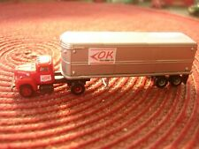 N SCALE - RARE - CLASSIC METAL WORKS - OK TRUCKING - TRACTOR & 32 FOOT TRAILER