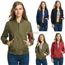 Women Solid Shoulder red ribbon Biker Slim Jacket Zip Up Bomber Jacket Coat K0E1