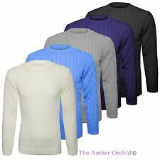 Mens Plain Chunky Cable Knitted Jumper V Neck Long Sleeve Top Knitwear Sweater