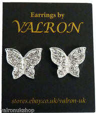 SILVER SPARKLE BUTTERFLY SHAPE EARRINGS EITHER CLIP ON MAGNETIC OR STUD