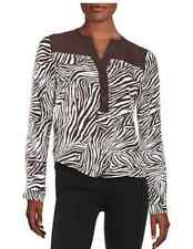Michael Kors Animal Print Zebra Long Sleeve Chocolate Blouse $89.50