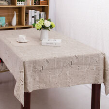 Newspaper Pattern Cotton Linen Tablecloth Table Cover Lace Edge Tea Table Cloth