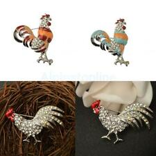 Fashion Chicken Cock Rooster Hen Animal Crystal Rhinestone Stones Brooch Pin