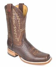 Gavel Mens Handcrafted Bullhide Leather Square Toe WD Western Cowboy Boots Brown