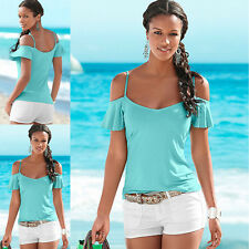 Women's Fashion Summer Elegant Strapless Tops Short Sleeved T-shirt Solid Color