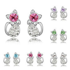 Hot Fashion Women's Crystal Rhinestone Chic Cat Ear Stud Earrings Charm Jewelry