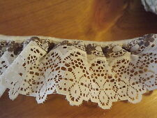 """LACE TRIM WHITE & BROWN  2 3/8"""" WIDE GATHERED RUFFLES"""