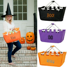PERSONALIZED MONOGRAM HALLOWEEN TRICK or TREAT CANDY MARKET TOTE STORAGE BAG