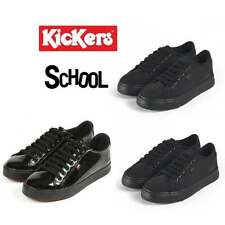 Kickers TOVNI LACER Boys Mens & Womens Canvas Patent Leather School Trainers