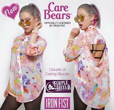 Iron Fist Care Bears Pink Rainbow Clouds of Caring Blouse ❤ S - XL