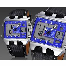 OHSEN Sport Watch Men Quartz LCD Date Alarm Analog Digital Leather Wrist Watches