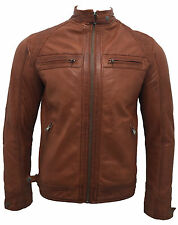 Men's Retro Rust Tan 100% Leather Racing Quilted Biker Jacket