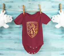 Harry Potter inspired Gryffindor burgundy 100% Cotton baby grow body suit.