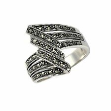 Esse Marcasite Sterling Silver Art Deco Marcasite Dress Ring - Size P
