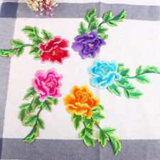 4PCS Embroidered Color Flower Patch Iron or Sew Appliques Diy Crafts Dress FT02