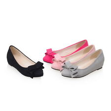 Cute Womens Flat Heels Shoes Shallow Mouth The Inner Heel Bowknot Pumps US Size