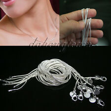 "Wholesale Lady 1MM  16""18""20""22""24"" Silver Plated Snake Chain Jewelry Necklace"