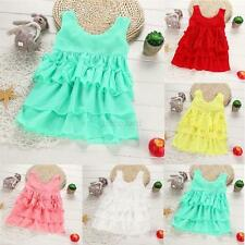 Baby Girls Kid Summer Sleeveless Chiffon Ruffled Sundress Party Beach Dress 1-4Y