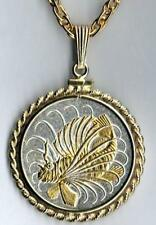 """Singapore 50 Cent """"Lionfish"""" Handmade 24k Gold on Silver Coin Necklace #2"""
