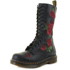 Womens Dr Martens Vonda Black Softy T Rose Red Leather Calf Boots Uk Size