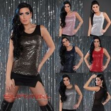 Womens Sexy Top Sleeveless with Shimmering Sequins Party Club Wear Size 8 10 12