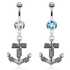 Ship Anchor with Single Gem Dangle Navel/Belly Ring.