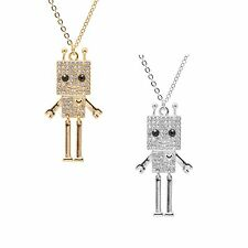 Smiling Square Robot with Antenna Strand Necklace