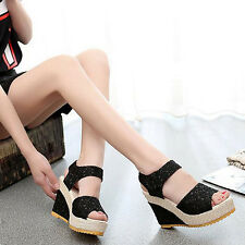Women's Faux Leather High Heel Platform Lace Peep Toe Beach Sandals New Trendy
