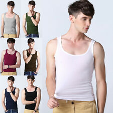 Mens Boys Cotton A-Shirt Wife Beater Ribbed Tank Top Undershirt Vest New Fashion