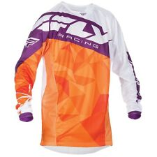 2017 Fly Racing Kinetic Crux YOUTH MX Motocross Jersey - Orange / White / Pur