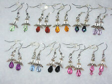 Handmade silver angel dangle earrings pierced, wire NEW 9 colors