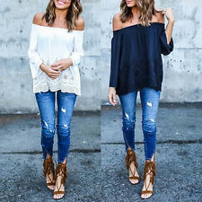 Sexy Women Off-Shoulder Long Sleeve Hollow Loose Casual T-Shirt Top Sweet