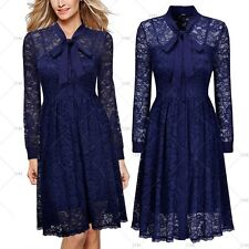 Women Vintage 1950s Cocktail Party Floral Lace Wiggle Pleated Bowknot Slim Dress