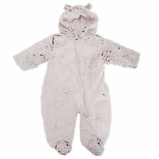 Baby Girls Fluffy Hooded Winter Bodysuit/Onesie With Ears
