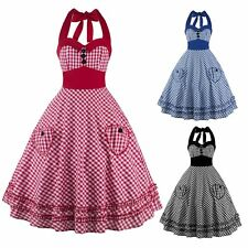 Sexy Women Ladies Daily Casual Plaid Dress Vintage Swing Backless Halter Dress