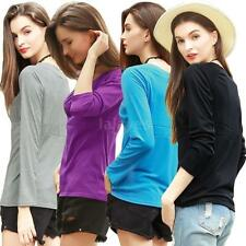 New Womens Long Sleeve Shirt T-Shirt Tops Fashion Loose O-Neck Blouse M-4XL Q2I5