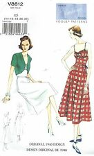 Vogue 8812 Misses' Dress, Belt and Bolero 14 to 22    Sewing Pattern