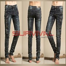 Mens Designer Slim Fit Jeans Black Washed Stretch Denim New Size 30 32 34 36