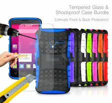 For Samsung - Shockproof Hybrid KickStand Case Cover & Glass Protector