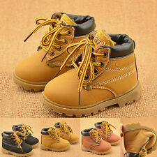 1x Kids Work Boots Toddler Army Shoes Lace Up Children Multiple Colors Tough #HD