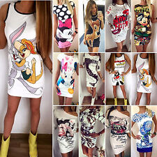 Sexy Womens Floral Cartoon Party Evening Celeb Slim Bodycon Short Mini Dress
