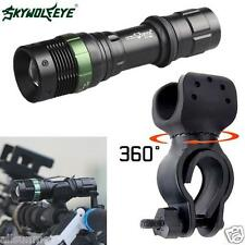 Super Bright CREE XML T6 LED Zoomable Flashlight + Bike Bicycle 360° Mount Clip