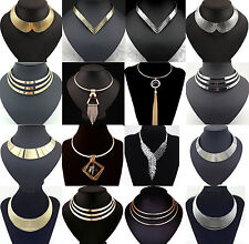 Fashion Charm Metal Chunky Statement Bib Chain Choker Pendant Necklace Jewelry A