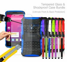 For Sony Xperia - Shockproof Hybrid Case Cover, Glass Protector & Stylus Pen