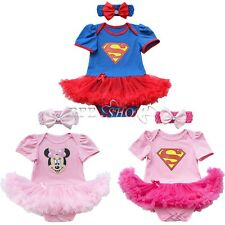 Baby Girls Minnie Superman Romper Jumpsuit Tutu Dress Up Outfit Fancy Costume