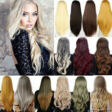 Long Straight Curly Wavy Wig Cosplay Full Wigs Heat Resistant Carnival Dark Red
