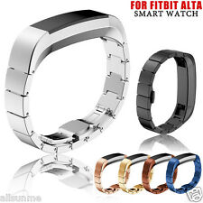 New Stainless Steel Leather Watch Band Wrist strap For Fitbit Alta Smart Watch